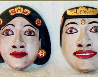 Hand Carved Wooden Balinese Topeng Masks