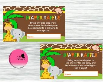 Baby Safari Diaper Raffle Insert, Party Favors, Instant Download - Digital File
