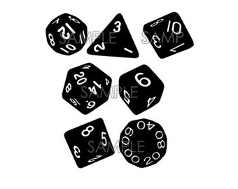 DND Dice set  -set of 7 Vinyl Decals