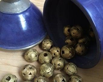 """Handmade African brass beads 0.59"""""""