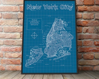 New york blueprint etsy new york city map original artwork new york city blueprint wall art malvernweather Image collections