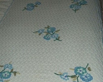 Vintage Cabin Craft Skirted Chenille Bedspread Squiggle, Blue,Aqua,Teal Flowers