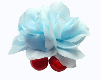 10% off with the code BDAY10  Pastel Baby Blue Double Rose Cherry Hair Flower Clip Pin Up Rockabilly