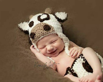 baby photo prop baby cow hat baby cow outfit crochet cow outfit baby cow costume baby shower gift newborn cow hat animal hat newborn cow