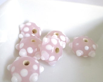 Pink Glass Beads with Raised White Dots, Loose Beads, Jewelry Supplies