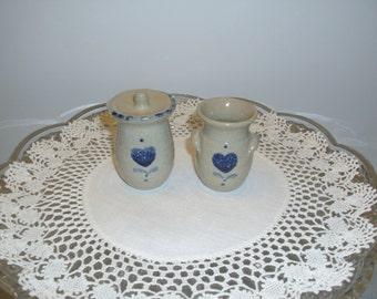 Two Vintage Miniature Crocks, Sponge Ware Pottery, Miniature Pottery, Vintage Miniatures, Handade Miniatures, Hand Thrown Pottery, McBee