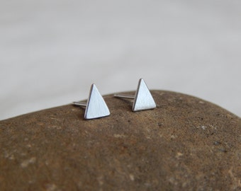 Tiny Triangle Stud Earrings-Simple Modern Stud Earrings-Sterling Silver-Handmade-Metal-Everyday Jewelry-Great Gift for Him/Her