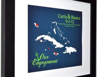 Nautical Engagement Gift With Location Of The Proposal, Personalized Anniversary Present Caribbean Cruise Map Anchors Unique Wall Art Print