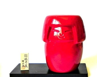 Vintage ceramic red kokeshi figurine