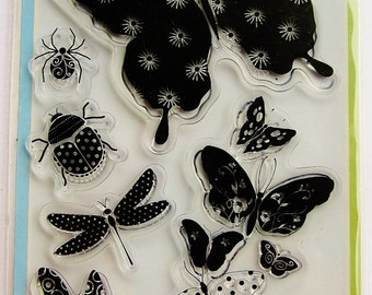 PATTERNED BUGS Clear Acrylic Stamp Set by Inkadinkado Stamps with Dragonfly & Butterfly