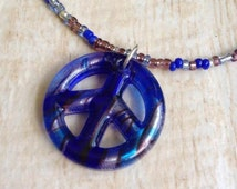 Peace Sign Necklace Cobalt, Turquoise, Silver and Black Glass Peace Sign Pendant, Glass Seed Bead Necklace, Hippie Costume, Music Festival