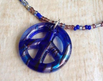 Peace Sign Necklace Cobalt Turquoise Silver Black Glass Pendant Seed Bead Hippie Halloween Costume Music Festival Retro Peace Love Happiness