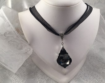 Classy Smokey Faceted Pendant on Black ribbon and cord multi-strand necklace