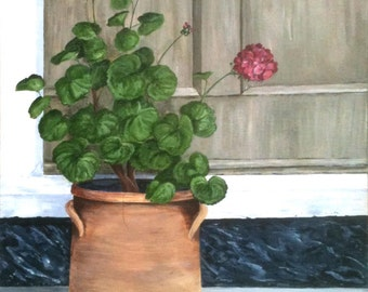 Digital Art Print Geraneums on the Doorstep, Geclee of Original Painting of Geraniums