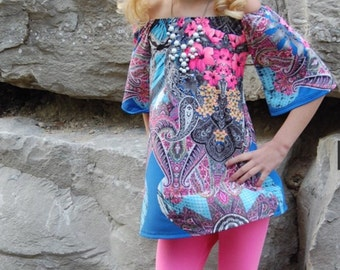 Little Girl's Neon Pink, blue, black floral Tunic Top, Boho, Trendy Dress up, Sizes 4T, 5T