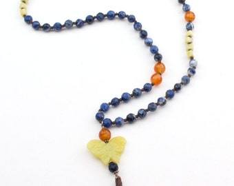 Hand Knotted Butterfly Boho  Necklace