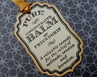 Balm of Friendship Tag, Lotion Tag, Gift tag, Handmade tag, Vintage Tag, Gifts for Friends