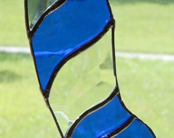 Stained Glass/Bevels Blue Christmas Stocking - Handcrafted In the USA