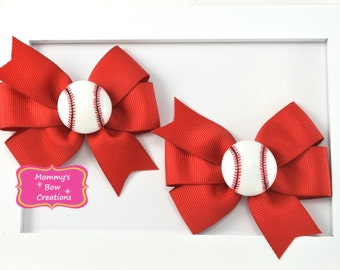 Baseball Hair Bows, Baseball Pigtail Bows, Small Baseball Bows, Red Baseball Bows, Red Baseball Bows, Sports Hair Bows, Soccer Bows