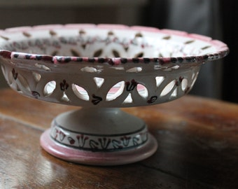 Tunisian ceramic footed compote, handpainted, light pink, intact