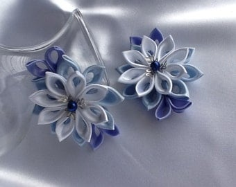 Bobby pins - Pale Blue Light Blue Lilac White Kanzashi Flowers Hair Accessories Wedding Flowers