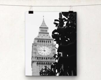 Big Ben, Black and White Photo, Gothic Clock Tower, London England