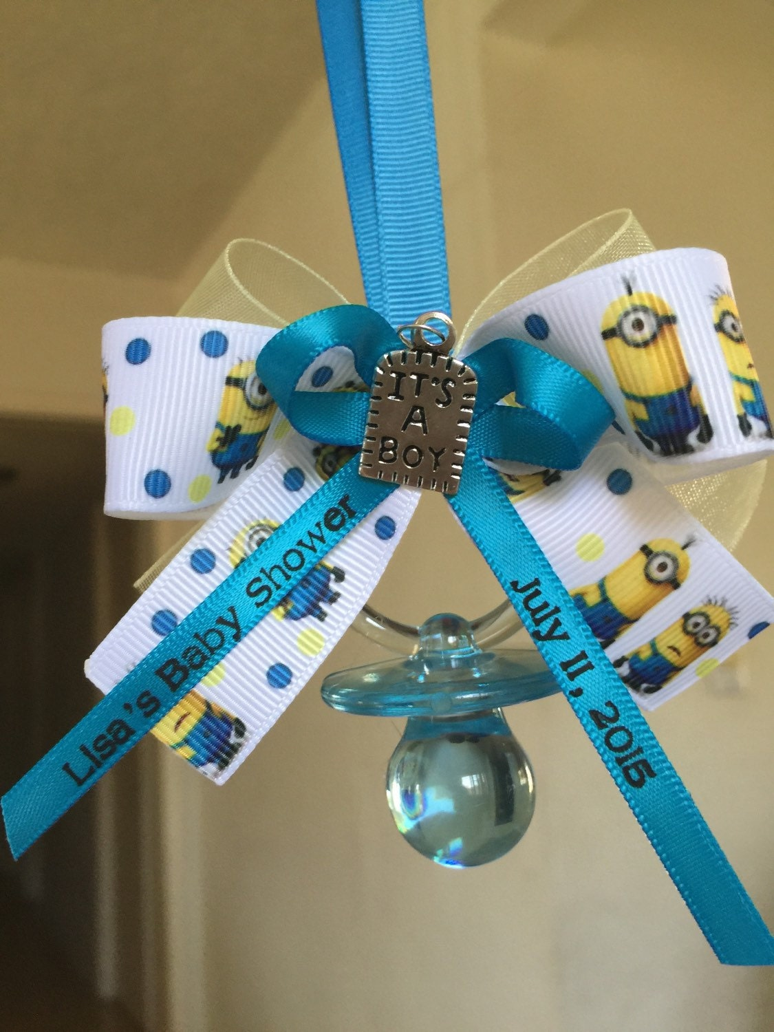 minion baby shower pacifier necklaces with by marcenaripartydecor