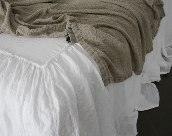 LINEN COVERLET dust ruffle .Ruffled linen bedspread, dust ruffle. Washed and softened. Made by MOOshop.*34