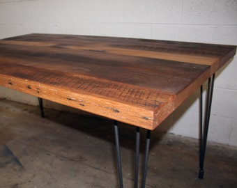 Antique Tobacco Oak Table With Steel Hairpin Legs (tags: Reclaimed Oak  Dinning Table Steel