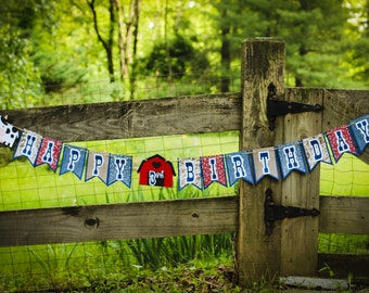 Farm Theme Birthday Banner | Barnyard Theme Birthday Banner