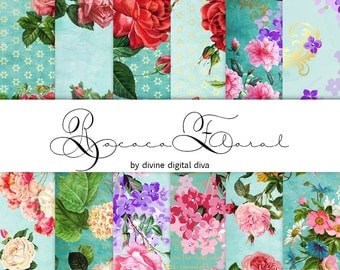 Rococo Floral Digital Paper Pack | Roses | Baroque | Instant Download
