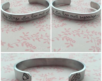 """Hand Stamped Cuff, """" Big things often have small beginnings"""" tree & acorn, dream, personalised"""