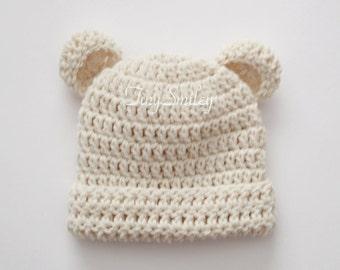 Cream Teddy Bear Hat, Bear Baby Hat, Newborn Bear Hat, Oatmeal Bear Hat, Photo Prop, Baby Boy Crochet Hat, Newborn Boy Hat, Hat with Ears