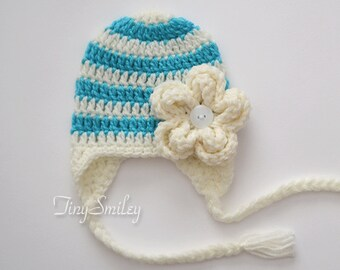 Earflap Striped Baby Girl Hat, Earflap Baby Girl Hat, Cream and Turquoise Baby Hat, Newborn Girl Hat, Infant Hats, Hopsital Hats, Baby Girl
