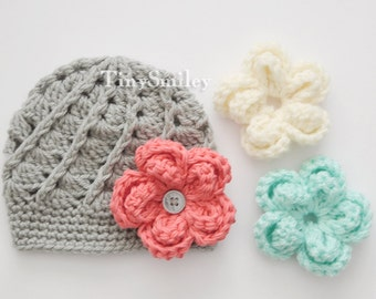 Interchangeable Crochet Flower Hat, Gray Baby Girl Hat with Three Large Flowers, Infant Girl Hats, Cute Baby Hat, Hat with Removable Flowers