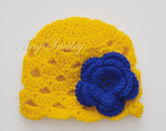 Yellow Baby Hat, Yellow Crochet Baby Hat, Newborn Baby Girl Shell Hat, Baby Hospital Hat, Baby Girl Outfit, Yellow Baby Flower Beanie, Hat