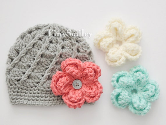 Interchangeable Crochet Flower Pattern : Interchangeable Crochet Flower Hat Gray Baby Girl Hat with