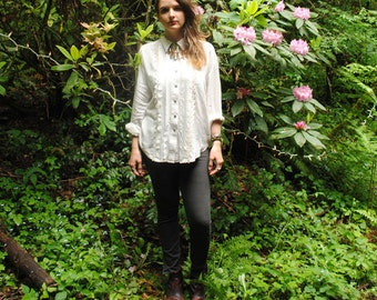 White Button Up Blouse with Pleated Details
