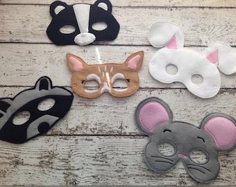 Woodland animal play masks, Forest animal masks