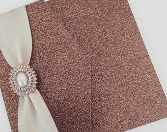 Glitter Pocketfold Wedding Invitation with Pearl Cluster