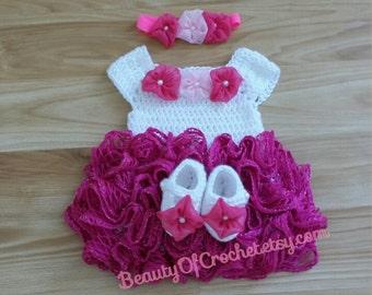 crochet b b fille robe tutu 0 3 mois pr ts par beautyofcrochet. Black Bedroom Furniture Sets. Home Design Ideas