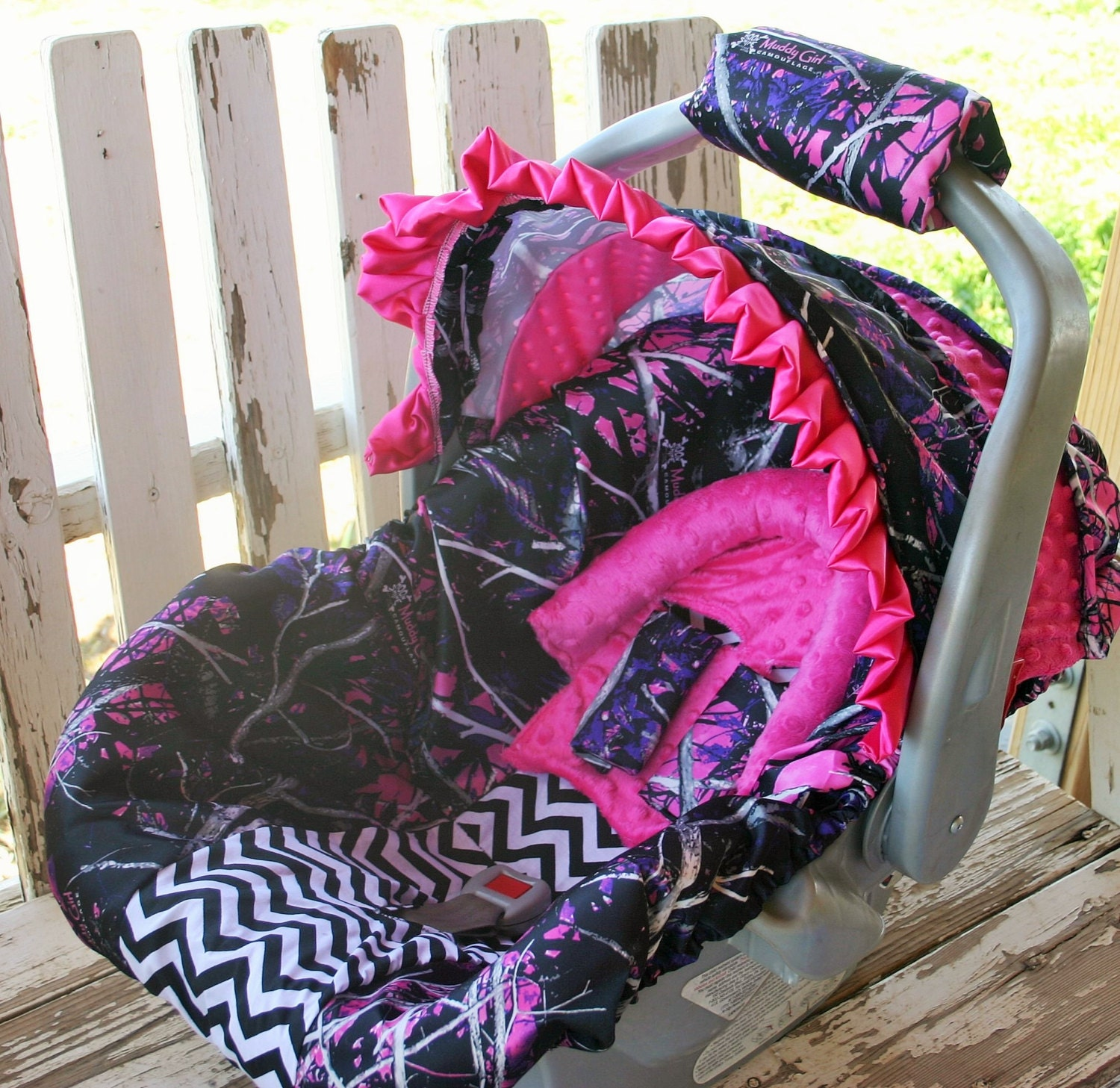 Pink Muddy Girl Camo W Black Chevron Infant Car Seat Cover And