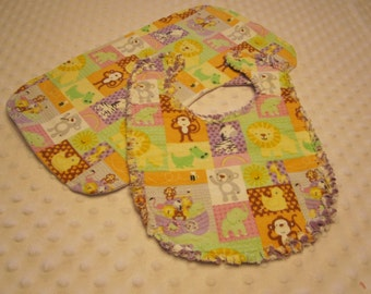 Ready to Ship Safari Themed Baby Bib and Burp Cloth Set ~ Reversible with Triple Layers of Soft Flannel