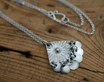cute, nature, sterling silver necklace, spring, flower and leaf necklace