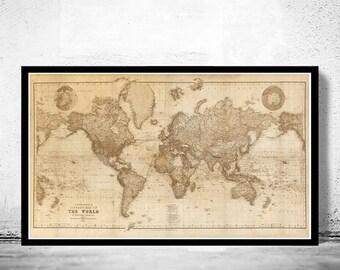 Beautiful World Map Vintage Atlas 1898 Mercator projection SEPIA