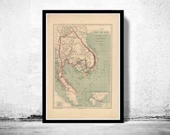 Old Map of Thailand, Old Siam 1869