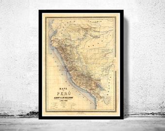 Old map of Peru Lima 1896