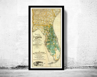 Old Map of florida, United States of America Vintage 1890