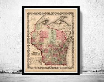 Old Map Wisconsin 1864 United States of America