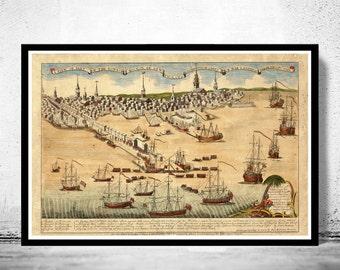 Old gravure of Boston,  Massachusetts Vintage 1768